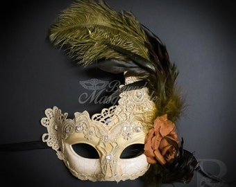 Feather Masquerade Mask, Masquerade Mask, Ivory Gold Masquerade Mask with Feathers, Mardi Gras Mask, [Golden Brown Ivory Cream]