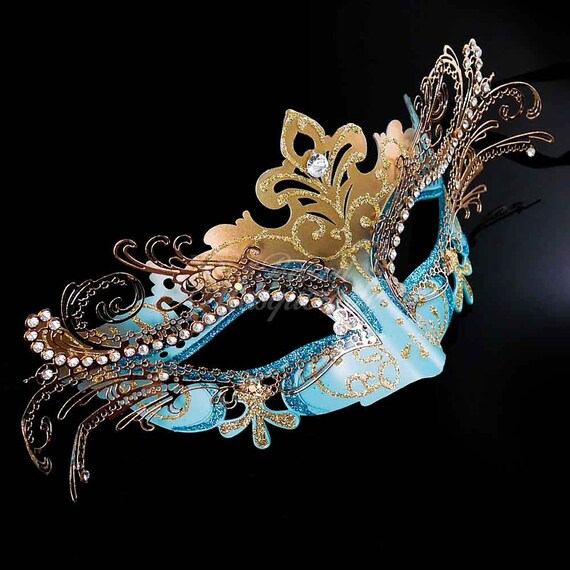 masquerade mask mardi gras mask teal blue gold venetian 3d etsy