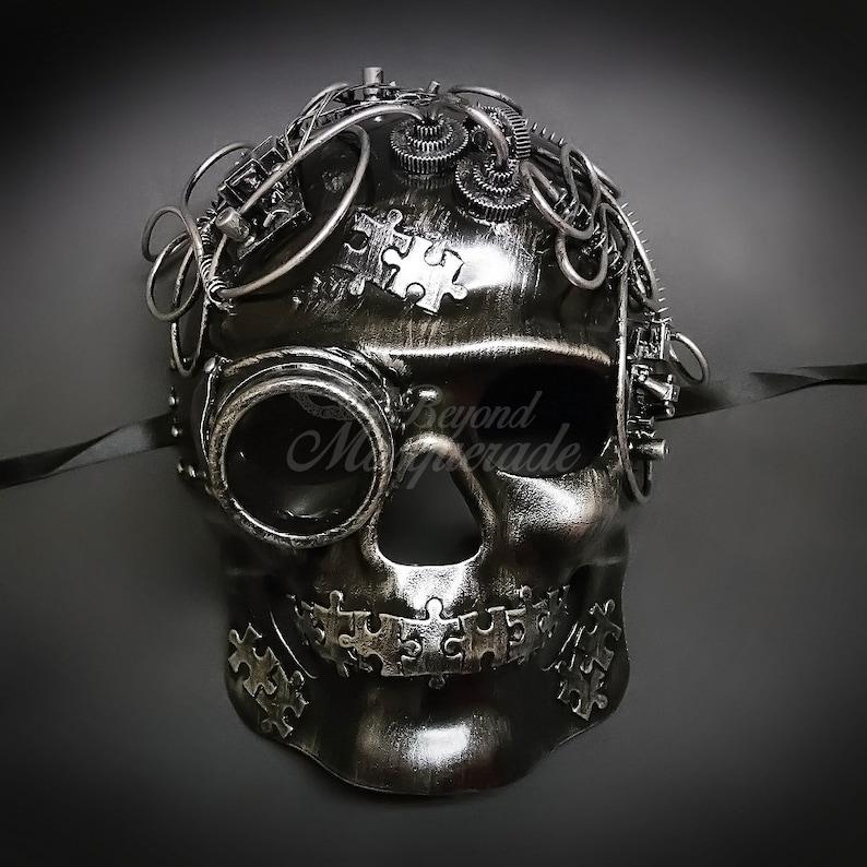 Full Face Men's Masquerade Steampunk Mask Skull Mask image 0