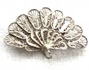 Circa 1800-1900 Art Nouveau fan brooch