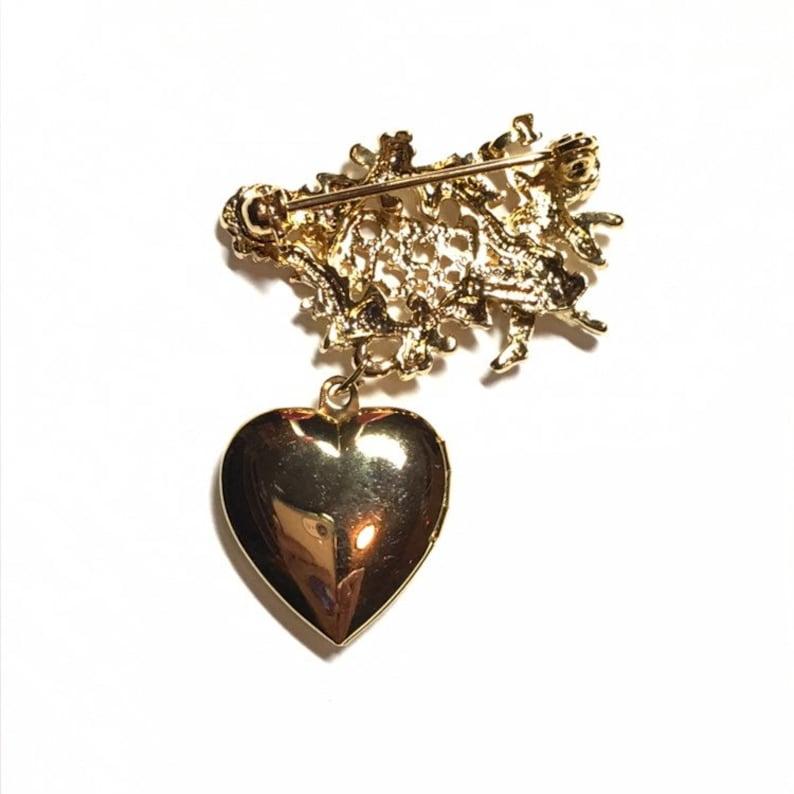 Authentic Vintage Brooch Goldtone Metal Cloisonn\u00e9 Enamel Brooch Butterflies /& Flower Jewellery- Blue Pink