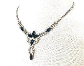 Blue sapphire rhinestone necklace
