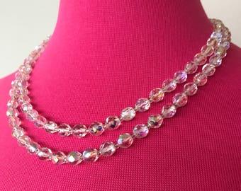 SALE Aurora borealis glass necklace