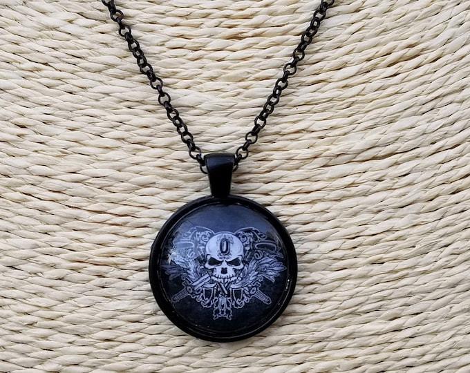 O'Kane Logo Pendant Necklace on a Black Chain