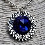 Spirograph Inspired Dark Sapphire Blue Swarovski Crystal Pendant in Silver Setting with Black Wire