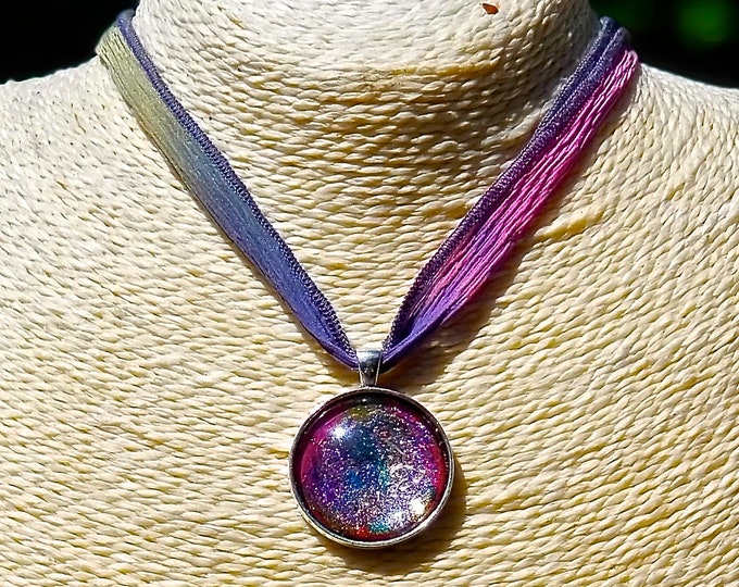 ONE LEFT: Pretty in Sparkle Pink Hand-painted glass pendant (Necklace or Keychain)