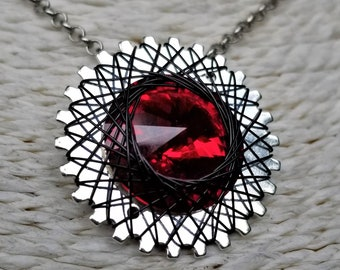 Spirograph Inspired Red Swarovski Crystal Pendant in Silver Setting with Silver Wire