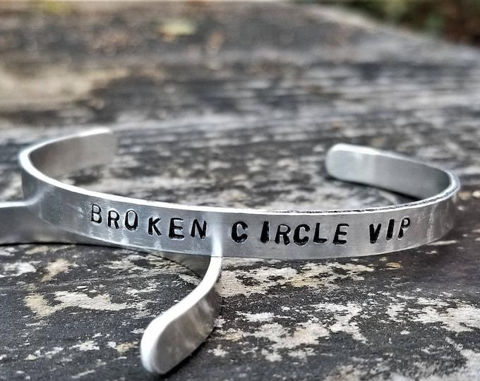 Broken Circle VIP: Hand Stamped Metal Cuff Bracelet, Aluminum