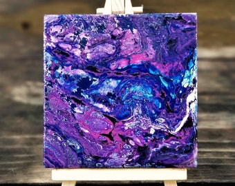 Purple Dreams (6 of 6) Acrylic Desk Art w/ Canvas Easel, Acrylic Pour on Canvas + Wooden Display Easel
