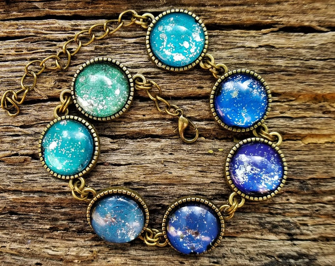 Ocean Depths: LIMITED EDITION Hand-Painted Glass Cabochon Bracelet