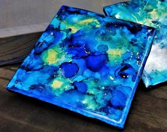 Ocean Treasure Set v2: One-Of-a-Kind Hand Painted Alcohol Ink Ceramic Coaster, Resin-Finish, Cork Backing