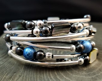 STACKABLE SET: Metallic Dream & Black Opalescence - Three Stackable Memory Wire Bracelets (Limited Edition!)