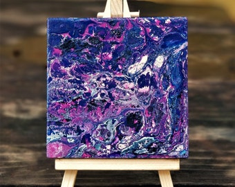 Purple Dreams (2 of 6) Acrylic Desk Art w/ Canvas Easel, Acrylic Pour on Canvas + Wooden Display Easel