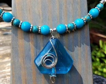 The Ocean Goes on Forever Sea Glass Memory Wire Choker