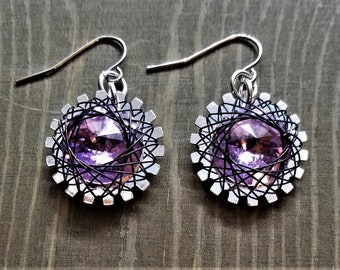 Spirograph Inspired Lavendar Swarovski Crystal Earrings in Silver Setting with Black Wire