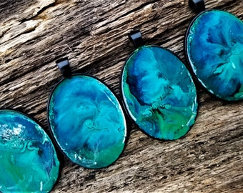 Ocean Mystery Necklace: Hand Crafted ONE OF A KIND Pendants (Alcohol Ink in Resin, Black Chain, Custom Length)