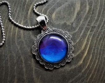 Hand Painted Glass Pendant: Blue to Purple Gradient (Necklace or Keychain)