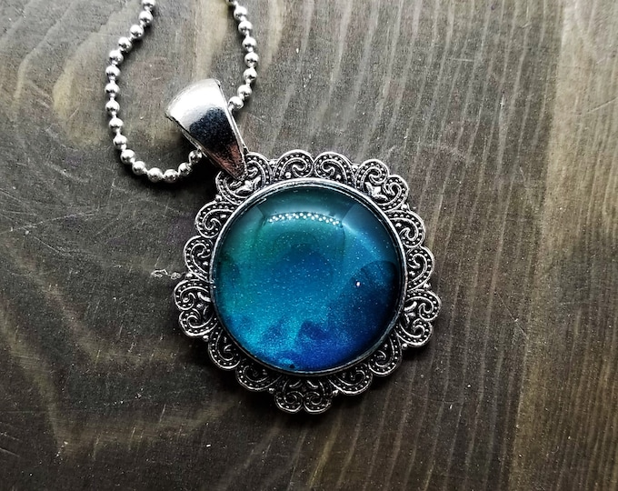 Hand Painted Glass Pendant: Green to Blue Gradient (Necklace or Keychain)