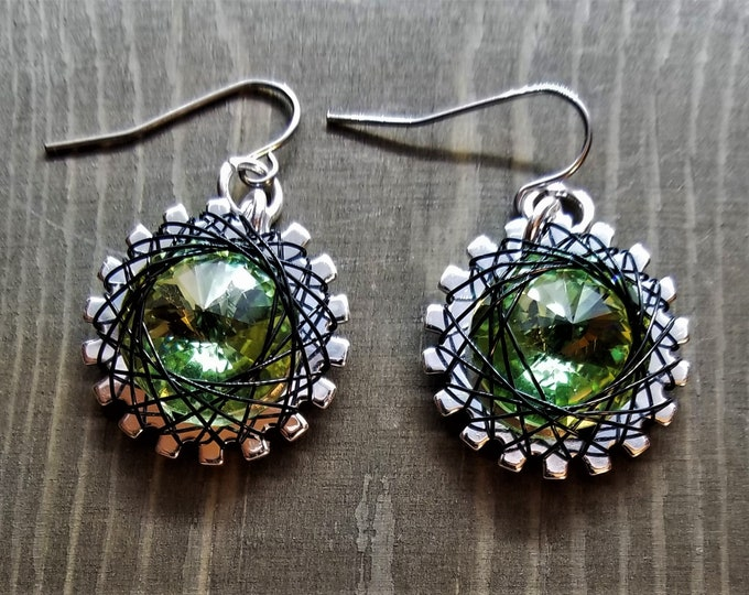 Spirograph Inspired Light Green Swarovski Crystal Earrings in Silver Setting with Black Wire