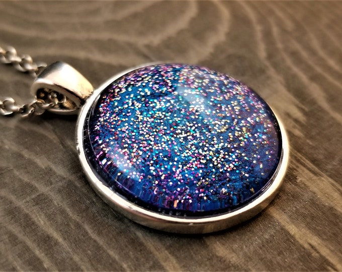 Hand Painted Glass Pendant: Blue Glitter Bomb (Necklace or Keychain)