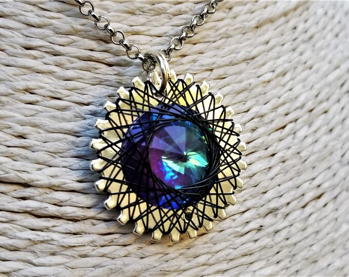 Spirograph Inspired Blue/Teal/Purple Swarovski Crystal Pendant in Silver Setting with Black Wire