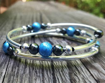 Metallic Blue Fight Night Memory Wire Bangle