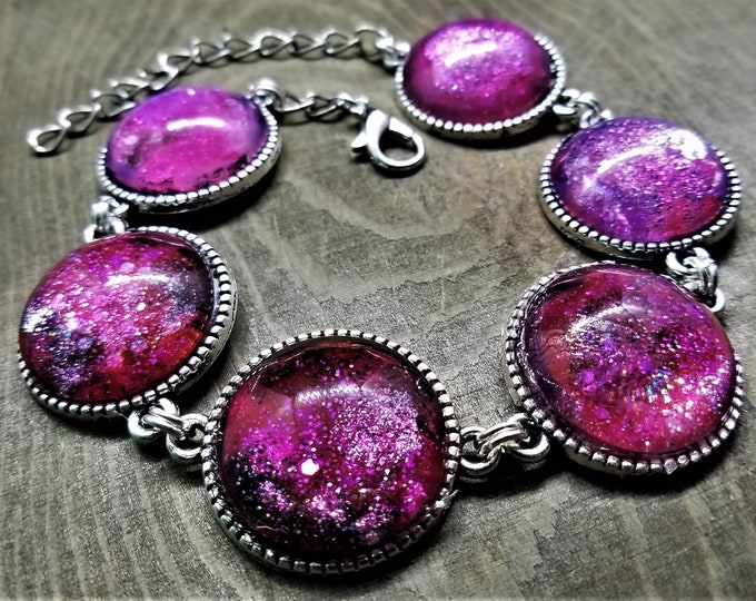 LIMITED EDITION: Hand Painted Pink & Black Nebula Cabochon Bracelet