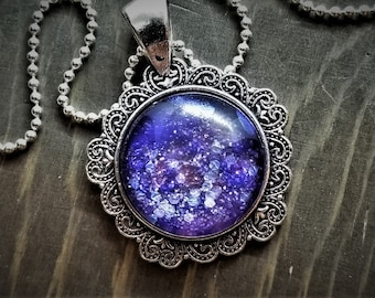 Hand Painted Glass Pendant: Purple Glitter Explosion (Necklace or Keychain)