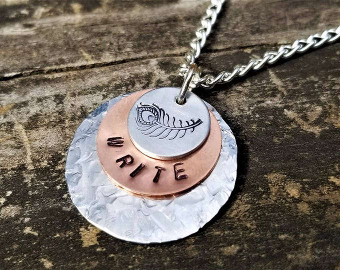 WRITE Necklace for Writer/Author Inspiration, Hand-Stamped Copper & Aluminum