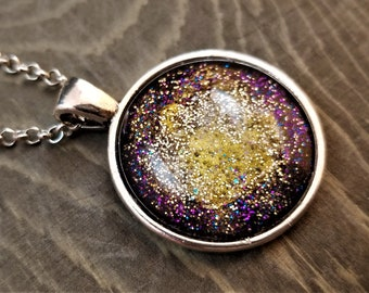Hand Painted Glass Pendant: Royal Nebula, Purple & Gold (Necklace or Keychain)