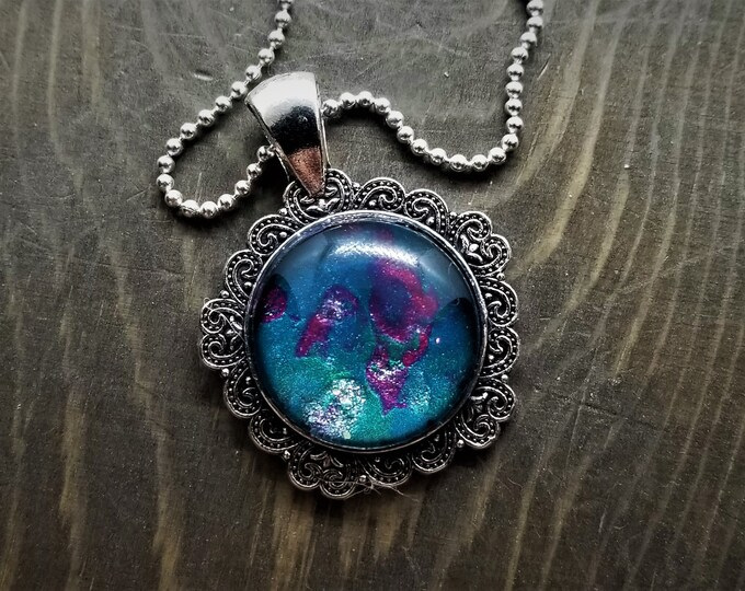 Hand Painted Glass Pendant: Teal & Pink Nebula in Fancy Setting (Necklace or Keychain)