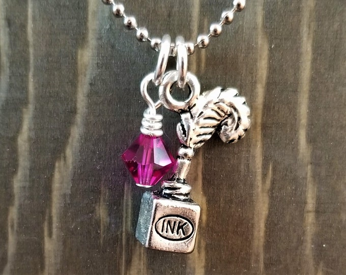 Quill & Ink Writer/Author Inspired Charms: Necklace or Planner/Purse/Bracelet Charm