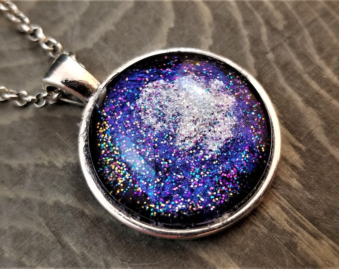 Hand Painted Glass Pendant: Stardust on Purple (Necklace or Keychain)
