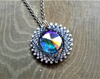 Spirograph Inspired Subtle Light Blue/Green/Yellow Swarovski Crystal Pendant in Silver Setting with Black Wire
