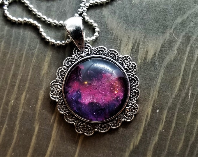 Hand Painted Glass Pendant: Pink Stardust in Deep Space (Necklace or Keychain)