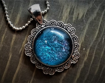 Hand Painted Glass Pendant: Blue Glitter Explosion (Necklace or Keychain)