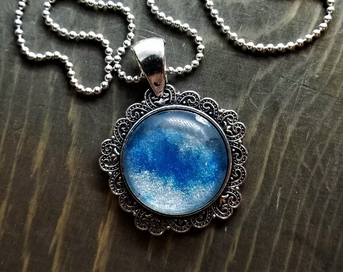 Hand Painted Glass Pendant: Blue & White Stardust (Necklace or Keychain)