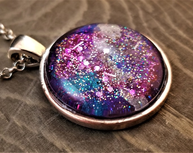 Hand Painted Glass Pendant: Pink Mermaid Nebula (Necklace or Keychain)