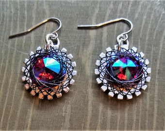 Spirograph Inspired Dark Rainbow Fire Swarovski Crystal Earrings in Silver Setting with Black Wire