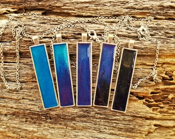 Blue, Purple and Black Shimmery Pendant (Necklace or Keychain)