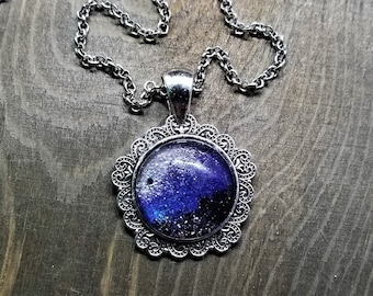 Hand Painted Glass Pendant: Purple, Black and White Stardust (Necklace or Keychain)