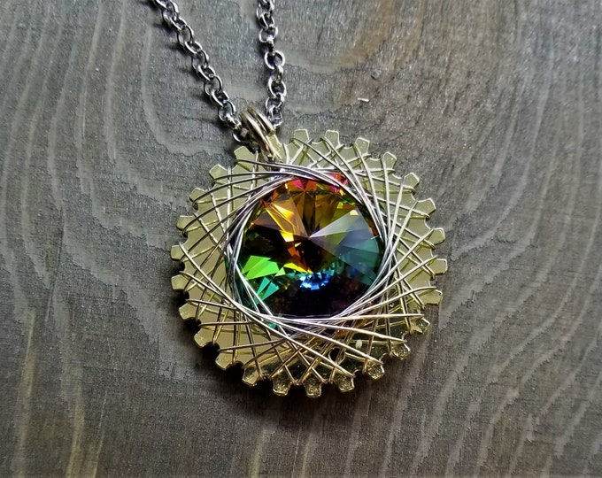 Spirograph Inspired Light Rainbow Swarovski Crystal Pendant in Brass Setting with Silver Wire
