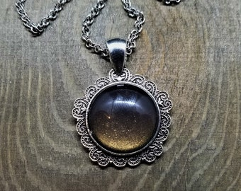 Hand Painted Glass Pendant: Gold on Black Shimmer (Necklace or Keychain)