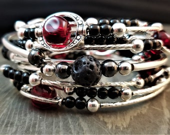 STACKABLE SET: Red & Black - Three Stackable Memory Wire Bracelets (Limited Edition!)