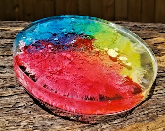 ONE Rainbow Starbursts (Round) Coaster: One-Of-a-Kind Hand Crafted Alcohol Ink & Resin Coaster