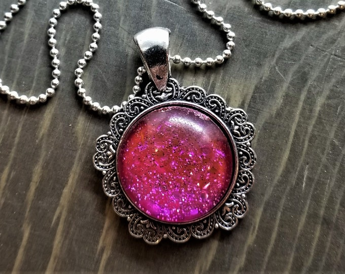 Hand Painted Glass Pendant: Pink Glitter Explosion (Necklace or Keychain)