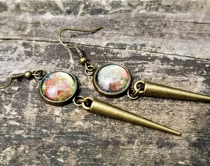 Maricela's Hand-Painted Glass & Bronze Spikes Earrings