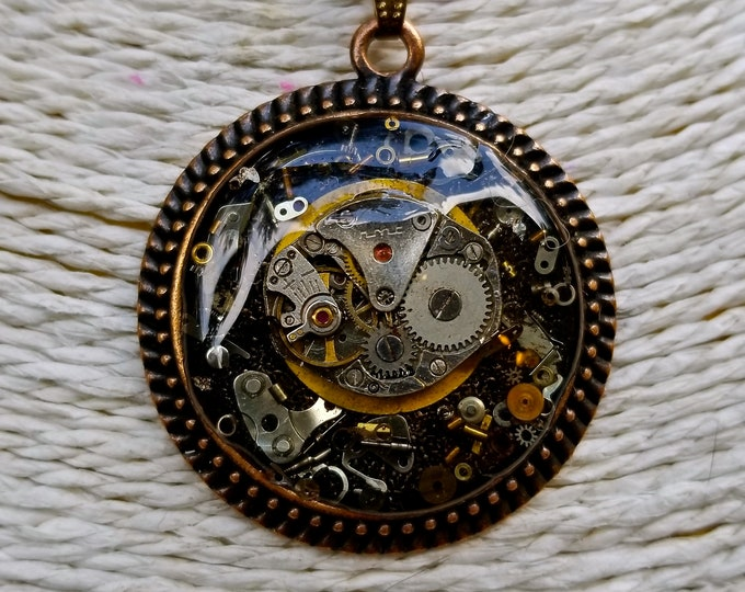 Handmade Steampunk Amulet Necklace, Gears & Watch Parts in Resin
