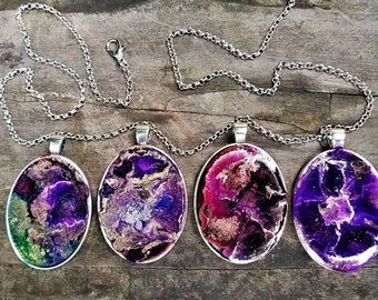 Hand Crafted ONE OF A KIND Pendants: Royal Chaos Versions (Alcohol Ink in Resin, Antique Silver-Plated Chain, Custom Length)