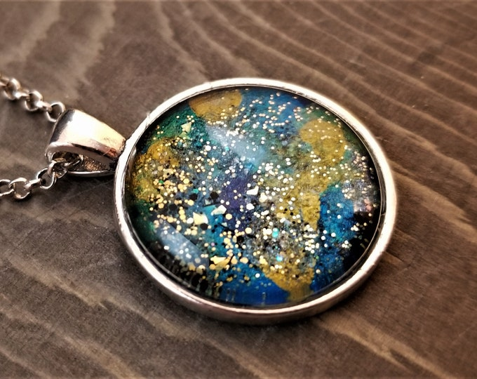 Hand Painted Glass Pendant: Golden Stardust on Blue & Green (Necklace or Keychain)